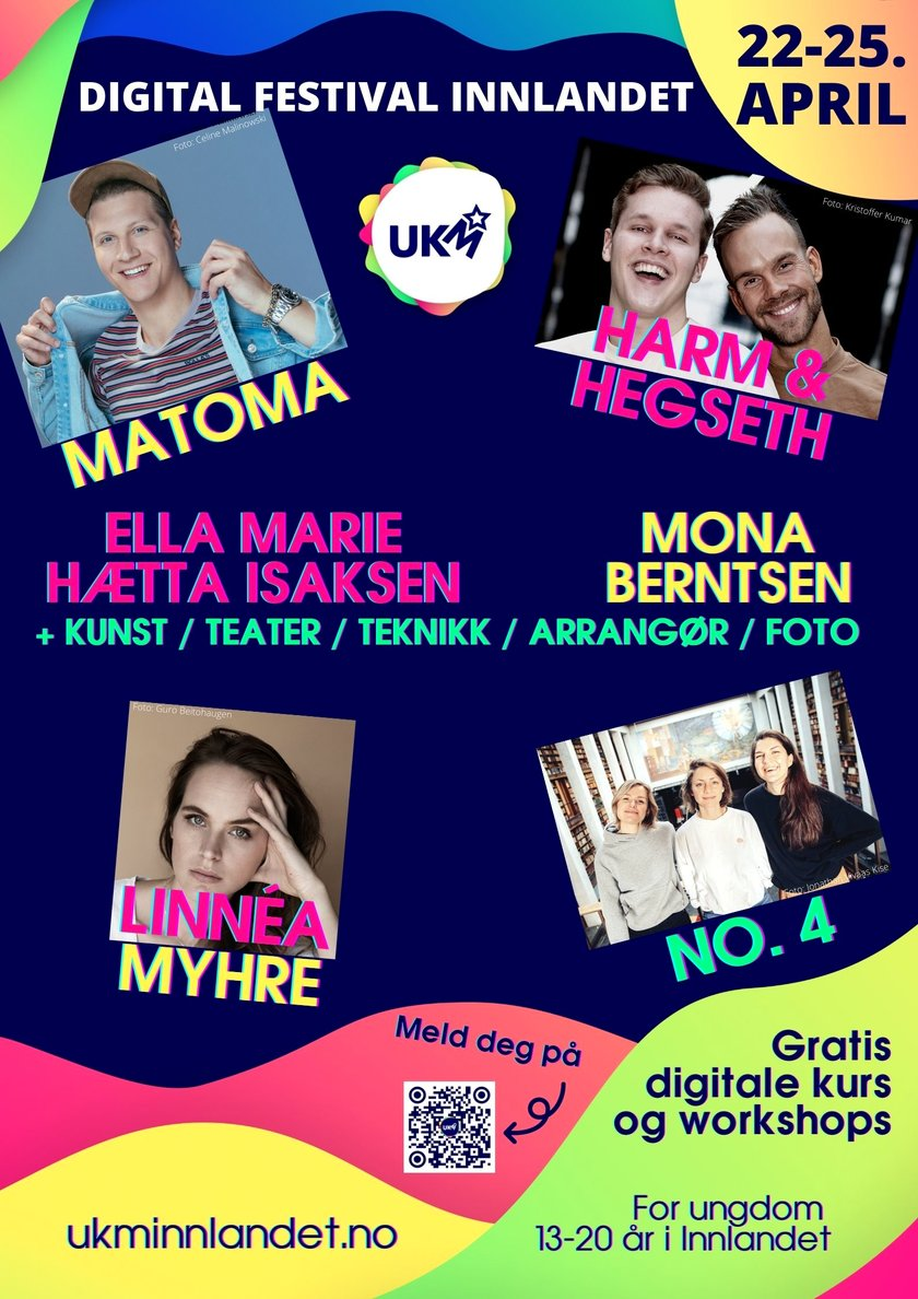 Plakat for UKM digital festival Innlandet 22.-25. april 2021 - Klikk for stort bilde